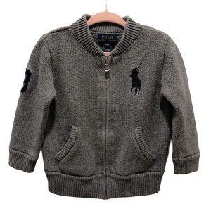 Ralph Lauren Gray Cotton Full Zip Sweater